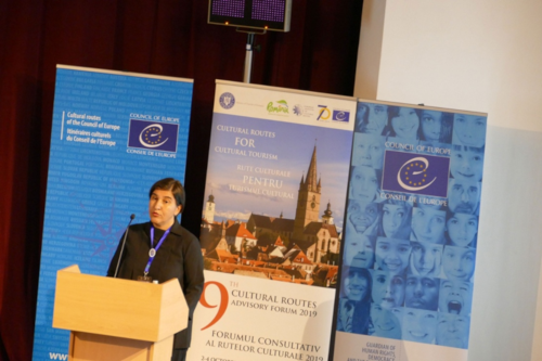 Themis Halvantzi-Stringer, presenting the FEG Silk Road Online Course at the 9th Cultural Routes Forum in Sibiu Romania, 2019 ©FEG